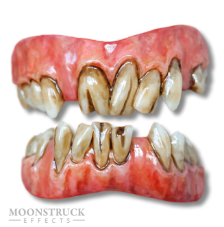 Lazarus Teeth - Custom Gum Color (Inflamed + Dead Brown Gums) - Stained Finish - Cracked + Missing Teeth alteration