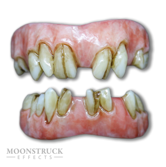 Lazarus Teeth - Regular Pink Gums - Stained Finish - Cracked + Random Missing Teeth Alteration
