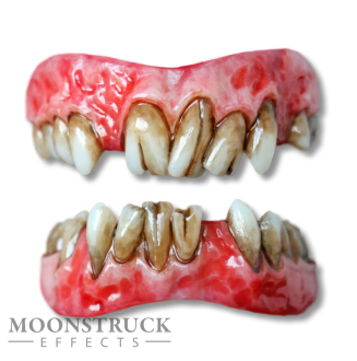 Lazarus Teeth - Regular Pink Gums - Custom Stain Finish - Cracked + random missing teeth Alterations